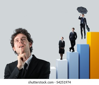 businessman portrait and team people on 3d stat