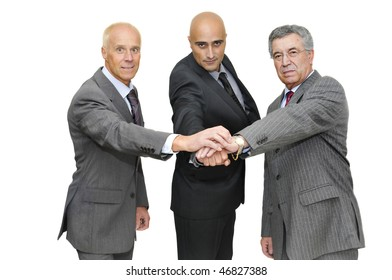 Businessman posing with hands together isolated in white