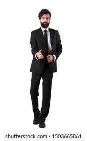 Businessman post portrait in studio.