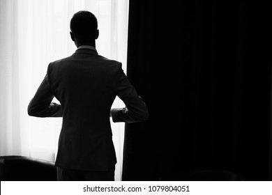 Businessman preparing to work, Business Success Concept, silhouette of man, super hero