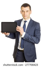 Businessman presenting a blank screen digital tablet