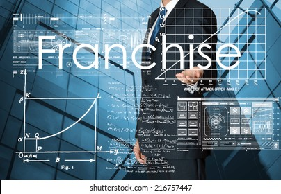 businessman presenting Franchise text and graphs and diagrams with skyscraper in background