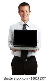 Businessman presenting a laptop