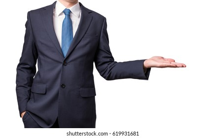 Businessman presenting something by his hand