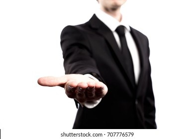 Businessman presenting something on a white background