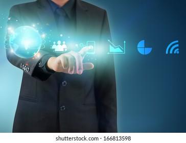 businessman press business icon