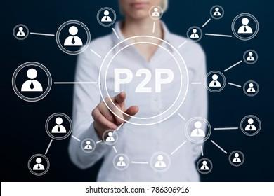 Businessman press button peer-to-peer p2p icon.