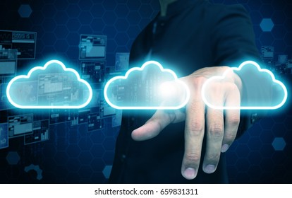 businessman press cloud