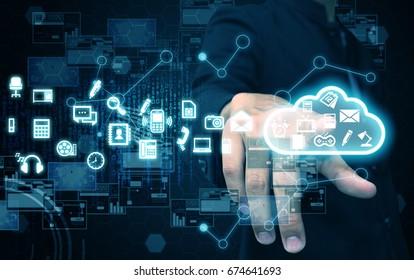 businessman press cloud