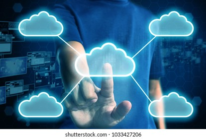 businessman press cloud network