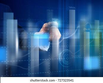 businessman press graph