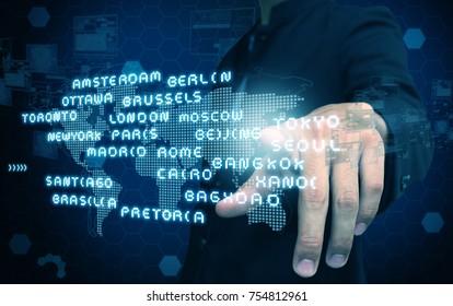 businessman press map