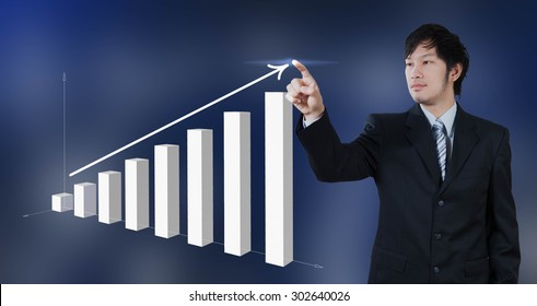 businessman press on chart, business strategy concept