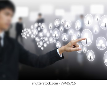 Businessman press social business button