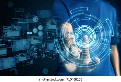 businessman press technology