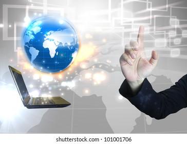 Businessman press touchscreen.technology concept