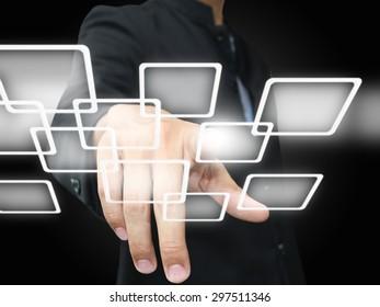 businessman press virtual button