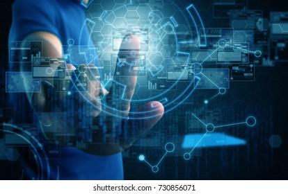 businessman press virtual screen