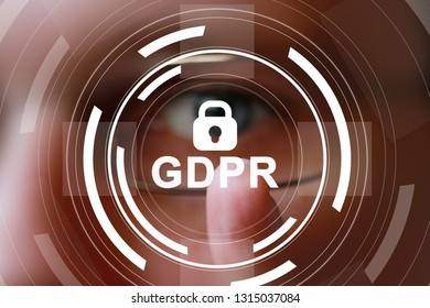 Businessman presses button general data protection regulation GDPR locked icon on virtual electronic interface.