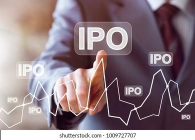 Businessman presses button ipo Initial Public Offering diagram online network.