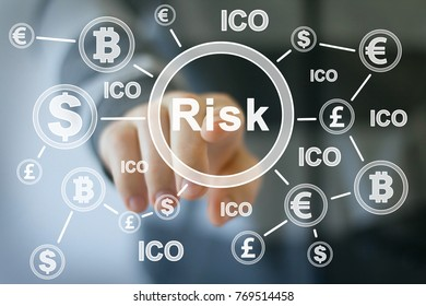 Businessman presses button risk web dollar currency ICO Initial Coin Offering on virtual electronic user interface.