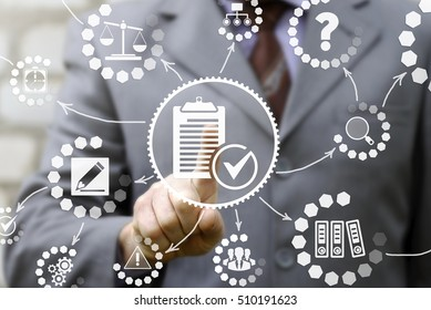 businessman presses compliance icon on virtual screen. Man touched a clipboard sign with check mark. Company, strategy, business, technology, finance, work concept. Compliance - chart with icons.
