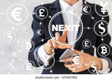 Businessman presses a exit button Netherlands from the European Union. Exit, collapse, the destruction, the referendum, the vote, split, the eu, the European Union. Nexit.