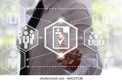 businessman presses forms button with checkmark and businessman on touch screen. Icon checklist on virtual screen. Business concept, questionnaire, form, checklist, paper sheet, check mark, team, work