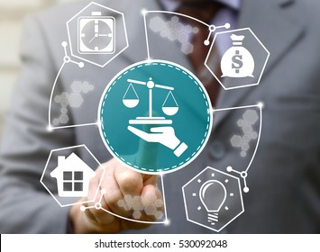 businessman presses hand scales button on virtual screen on background of network business finance icon. Man touched balance sign. Banking justice judge security internet court tribunal insurance