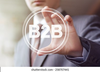 Businessman pressing button b2b icon web