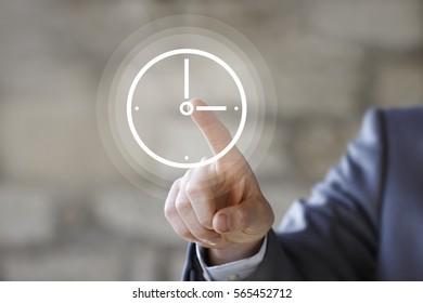 Businessman pressing button clock web time icon concept.