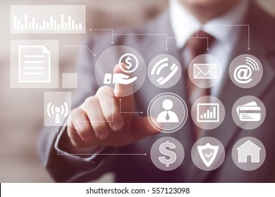 Businessman pressing button dollar currency network online icon