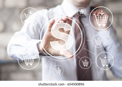 Businessman pressing button dollar in network shopping cart buy