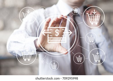 Businessman pressing button dollar in network shopping cart buy icon.