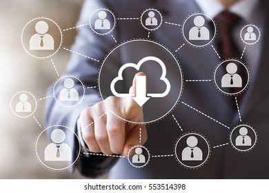 Businessman pressing button download cloud network icon