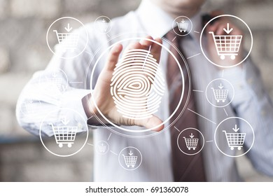 Businessman pressing button fingerprint print shopping cart network