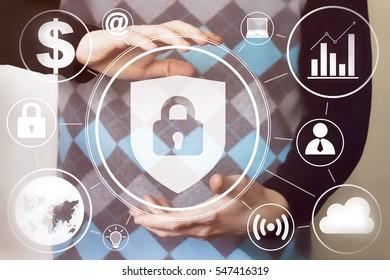 Businessman pressing button locked shield virus security network.