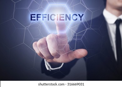 "Businessman pressing button on touch screen interface and select ""efficiency""."