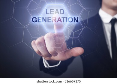 """Businessman pressing button on touch screen interface and select """"lead generation""""."""