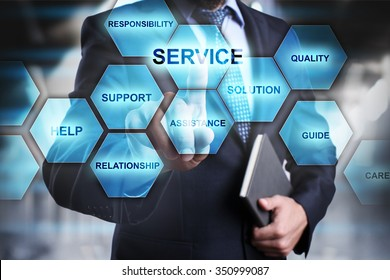 Businessman pressing button on touch screen interface and select service. busines concept.