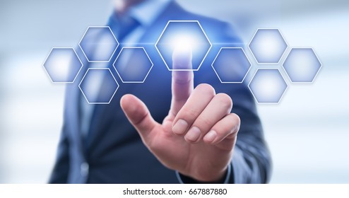 Businessman pressing button on virtual screen. Man pointing on futuristic interface. Innovation technology internet and business concept. Space for text. Abstract background.