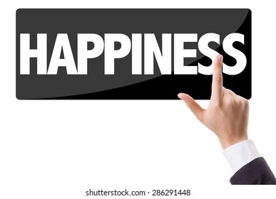 Businessman pressing button with the text: Happiness