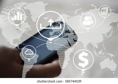 Businessman pressing button upload on smartphone network. Business communication on a map.