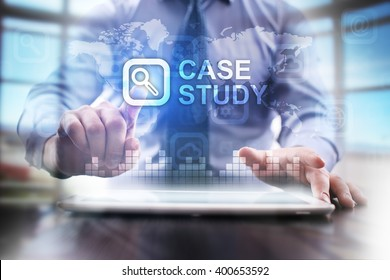 Businessman pressing case study icon on virtual screen .