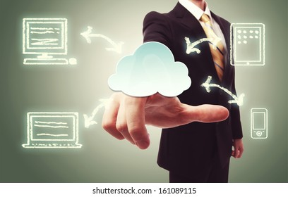 Businessman pressing a cloud icon with devices over vintage green background