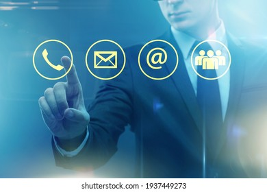 Businessman pressing in communication concept