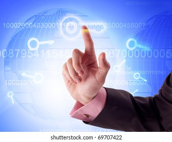 "businessman pressing ""KEY"" button"