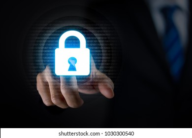 Businessman pressing lock icon and binary code, Cyber security. Data protection. Information privacy concept.