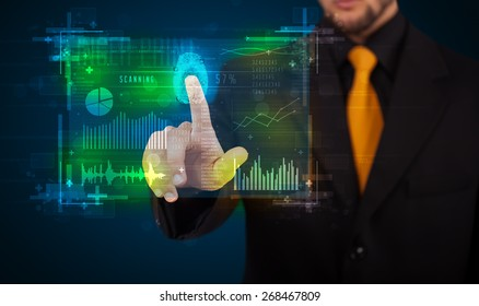 Businessman pressing modern technology panel with finger print reader