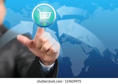 Businessman pressing on cart button